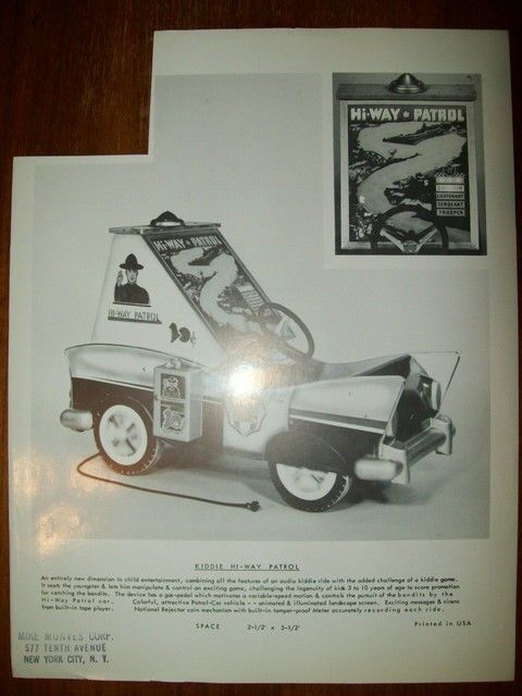 1960s All-Tech HI-WAY PATROL Police Car With Tail Fins Kiddie Ride Sales Flyer