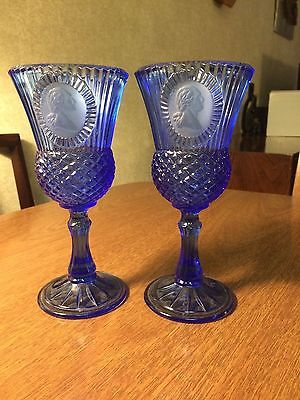 Vintage FOSTORIA Blue George & Martha Washington Cameo Goblet GLASS