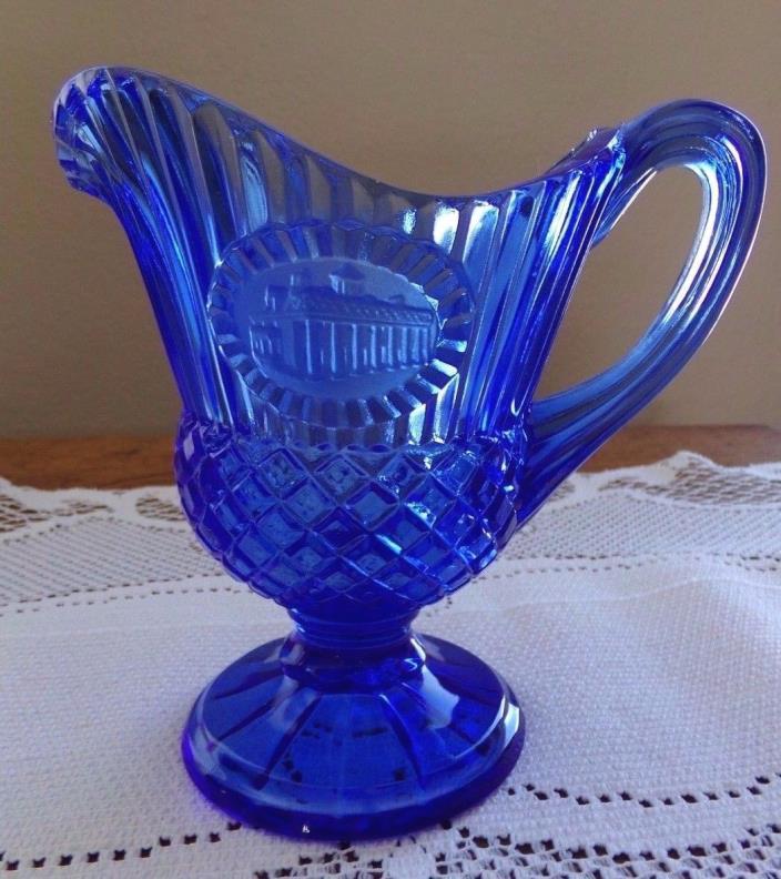 Vintage blue Glass Syrup Sauce Pitcher Building Print Pretty