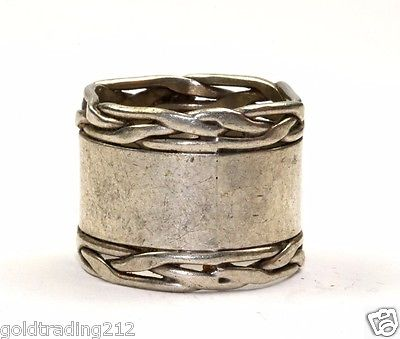 VINTAGE ROPE EDGE WIDE CIGAR BAND MEXICO RING SZ 9 925 STERLING RG 2060