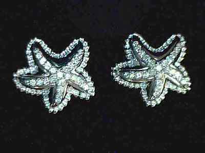 Amazing 0.70 ctw Diamond Starfish Earrings in 18K Solid White Gold