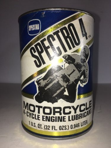 VINTAGE SPECTRO 4 MOTORCYCLE CARDBOARD QUART MOTORCYCLE OIL CAN HARLEY DAVIDSON