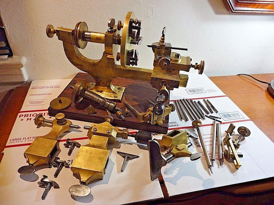 Antique Watchmakers Lathe With Accessories