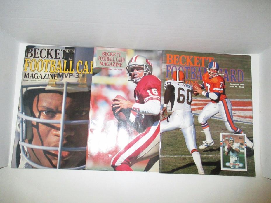 LOT OF 3 Beckett football- Elway, Bo Jackson, Montana, Bobby Humprey, 1989-1990