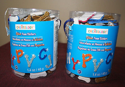 Creatology Glitter Foam Letter Sticker Bucket, Two Sets Assorted Colors Ages 3+