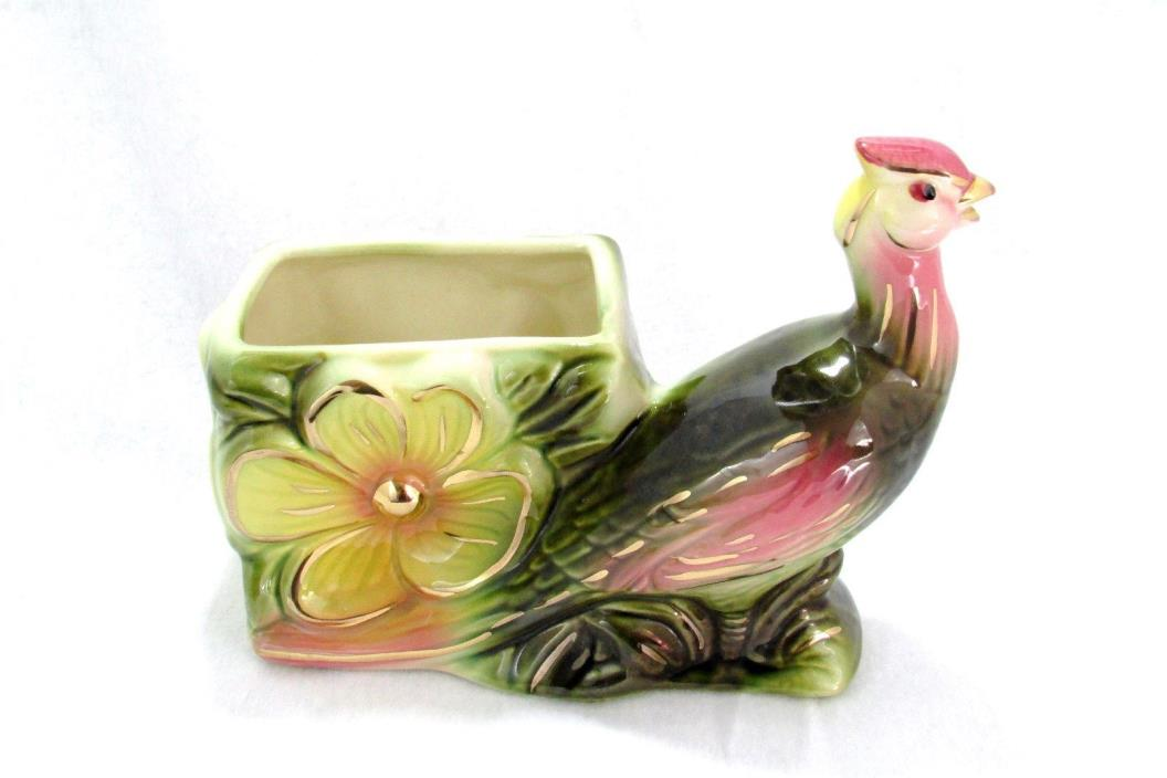 Hull Pottery Vintage Planter Peacock/Bird Design Hull 61 USA Beautiful  Nice