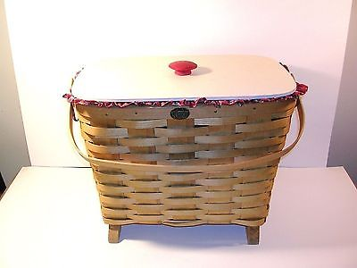 Sewing Basket - Lg Peterboro Lined Sewing Basket w Pockets - Neat!