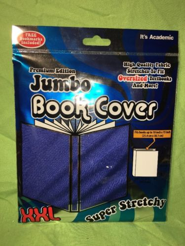 Jumbo Stretchy Book Cover Premier Edition Blue XXL Includes Free Bookmark New