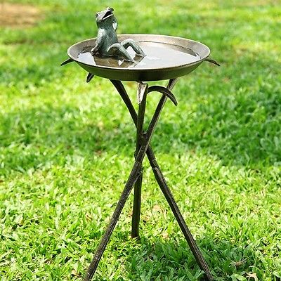 Awesome Sunny Frog Bird Bath Bird  Seed Feeder,22.5''H.