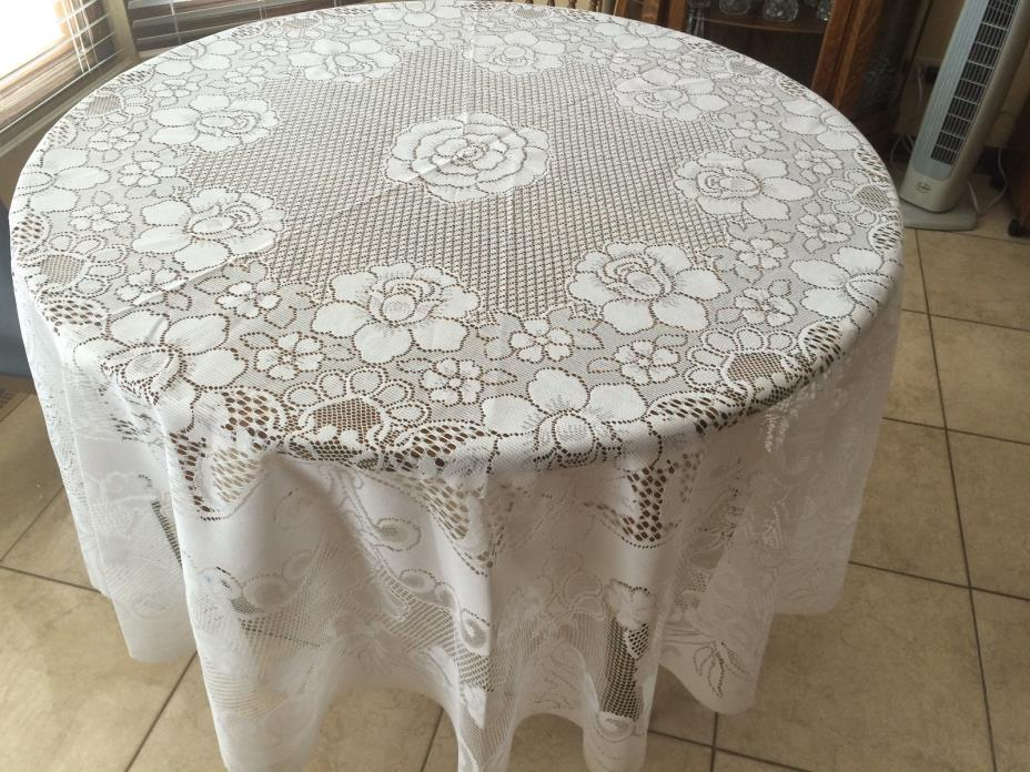 Vintage White Lace Floral Tablecloth, Round 82
