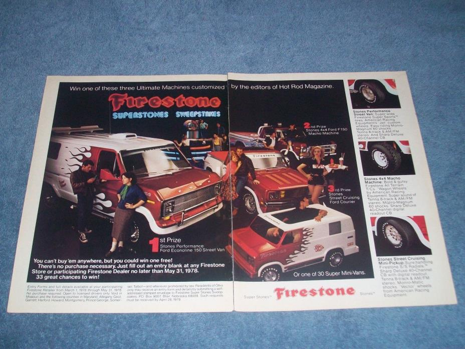 1978 Firestone Tires Vintage Contest 2pg Ad with Custom Ford Van Truck Courier