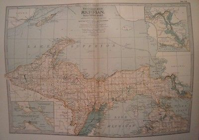 RARE ANTIQUE 1897 CENTURY ATLAS MAP OF MICHIGAN, NORTHERN PART