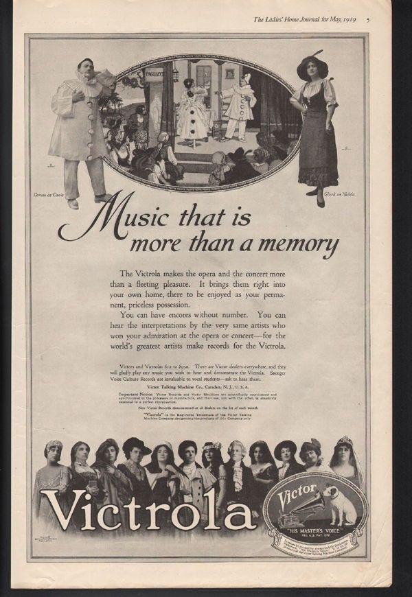 1919 VICTROLA MUSIC DANCE CARUSO OPERA SING CONCERT PAGLIACCI THEATRE 21105