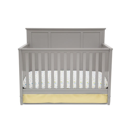 Modern Baby Crib 4-In-1 Convertible Toddler Day Full Size Bed Grey Adjustable