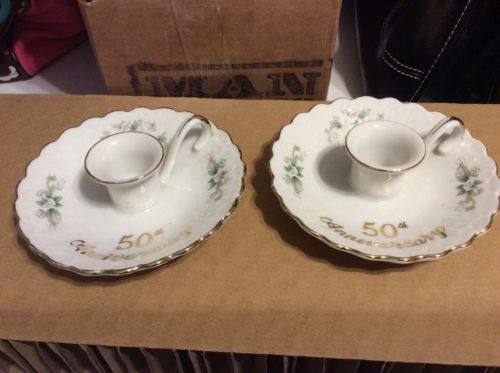 Lefton 50th Wedding  Anniversary Candle Holders set of (2)