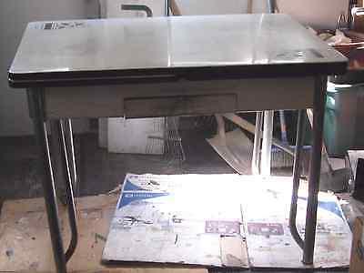 Vintage Retro Antique Enamel Top Kitchen Table