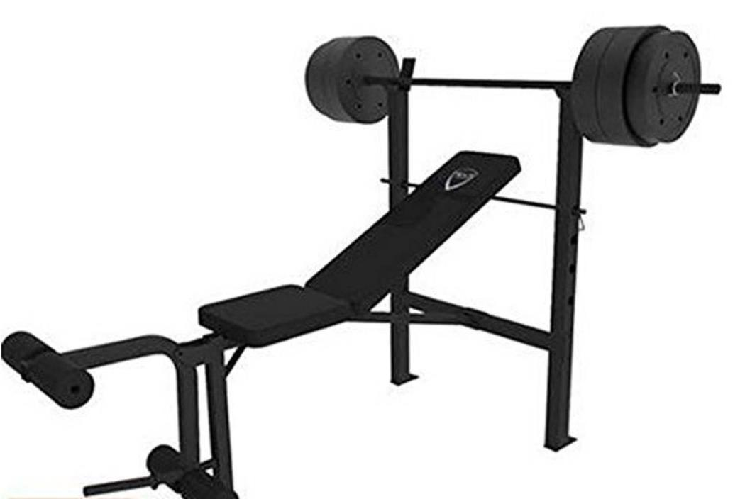 Workout Bench Starter Bench 100 lb Weight Set 2 10lb Weights 4 20 lb 1 Steel Bar