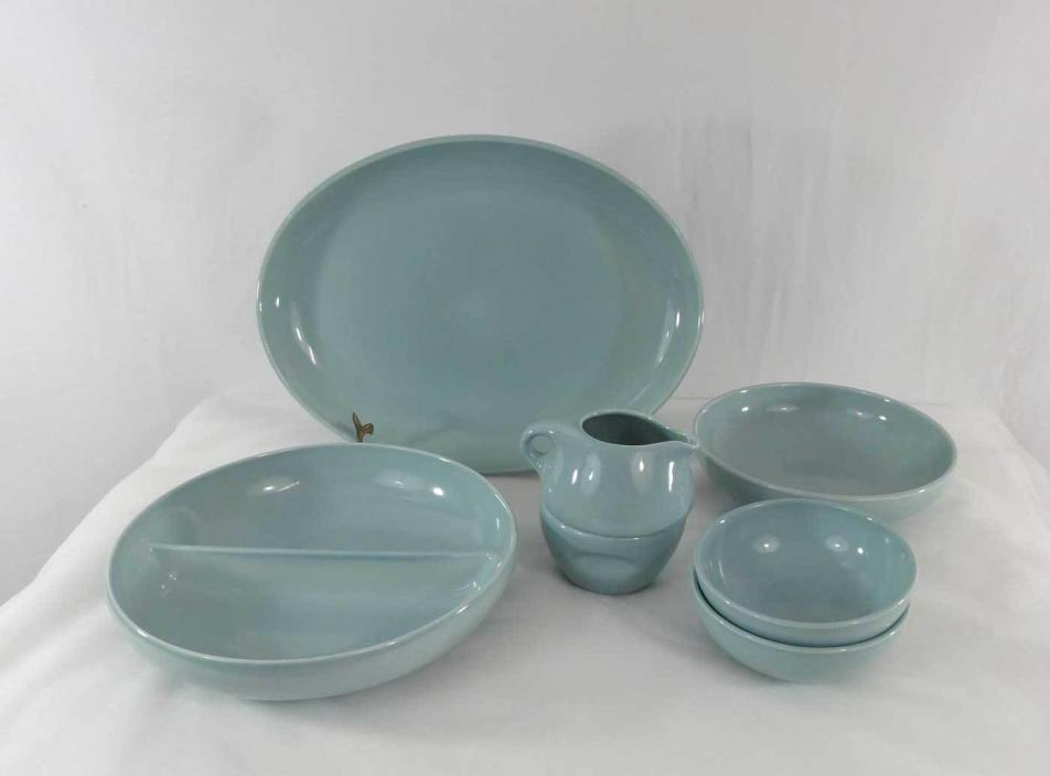 Russel Wright Iroquois Casual China Ice Blue Servers Platter Bowls Cream & Sugar