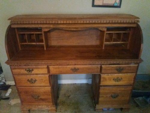 Desk roll top solid oak