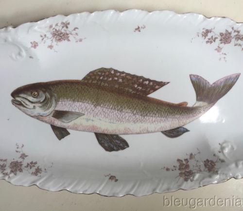 Antique HP Limoges (?) Fish Platter & Plates ~ 5 PC Set
