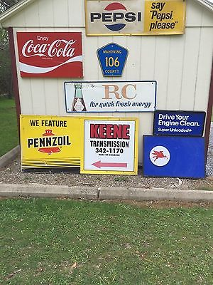Original Pennzoil Gas Oil Garage Metal Sign WE FEATURE PENNZOIL Dealer Sign