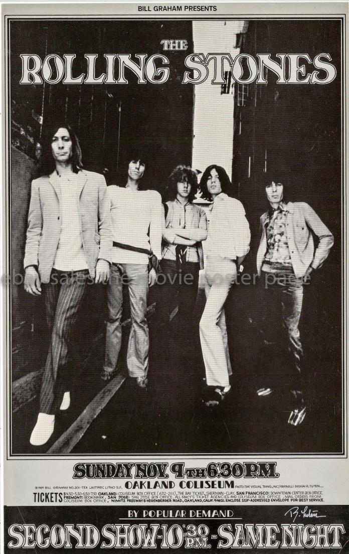 Rolling Stones 1969 Oakland Coliseum Concert Poster