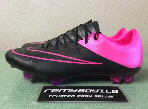 Nike Mercurial Vapor X Leather FG Black Hyper Pink Mens Sz 7/ Women's Sz 8.5 NEW