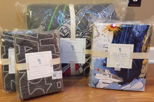 NEW Pottery Barn Kids STAR WARS X-Wing Tie Fighter QUEEN Quilt Shams Sheet Set
