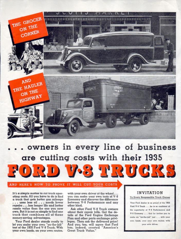 1935 Ford Truck Ad -V-8 --Cutting Costs with Ford ----t794