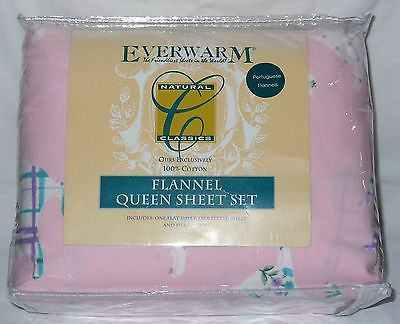 NEW Kitty Cat Flannel Queen Sheet Set Flat Fitted Pretty Pink Purple Floral NWT