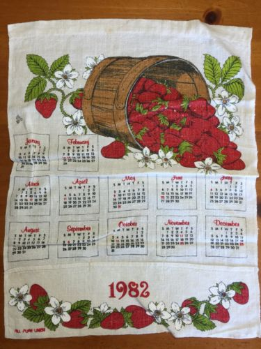 Beautiful Kitchen calendar Cloth towel Vintage 1982 Strawberry  Basket