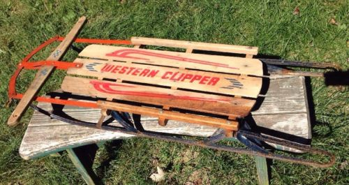 VINTAGE WESTERN FLEXIBLE FLYER WESTERN CLIPPER SNOW SLED decor porch