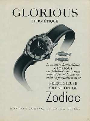 1954 Zodiac Glorious Watch Ad Vintage Swiss Ad Advert 1950s Switzerland Print Ad