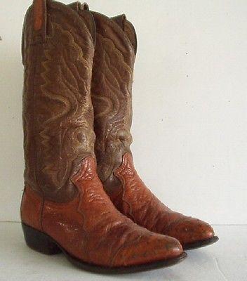 Mens MONTANA Brown Ostrich Skin Western Vintage Cap Toe Cowboy Boots size 7 E