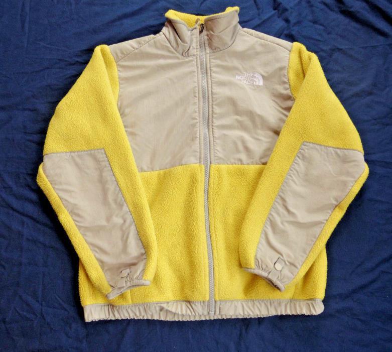 The North Face Girl's Size Medium Yellow & Gray Fleece Zip Up Jacket Coat