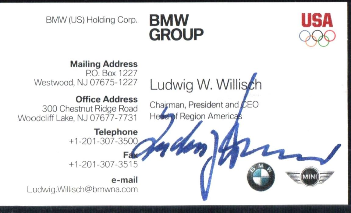 SIGNED BUSINESS CARD OF CEO OF BMW, LUDWIG WILLISCH