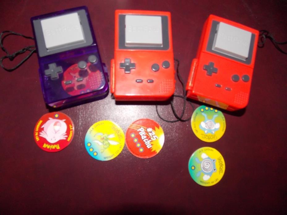 3 Original Nintendo Tomy POKEMON  BLASTER BATTPOKE with 8 BATTLE DISKS