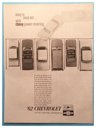 Vintage  New 1962 Chevys W/Power Steering  Advertisement-  10 1/2