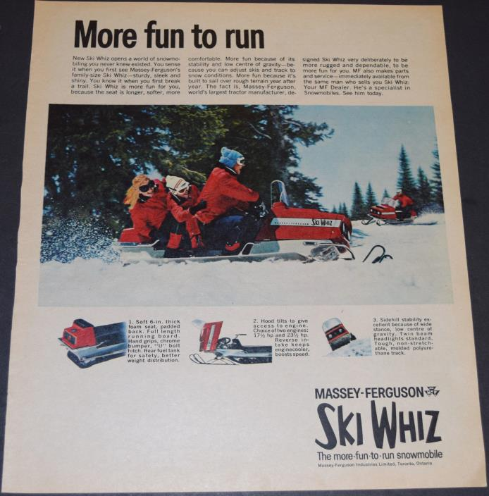 1 Massey-Ferguson Ski Whiz Snowmobile Ad 1969 Full Page Colour