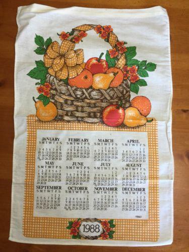 Beautiful Kitchen calendar Cloth towel Vintage 1988 Fruit Basket