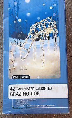 White Wire 42 in. Animated and Lighted Grazing Doe