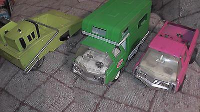 lot of 3 big vintage metal tonka toys grader road paver bus van usa pickup truck
