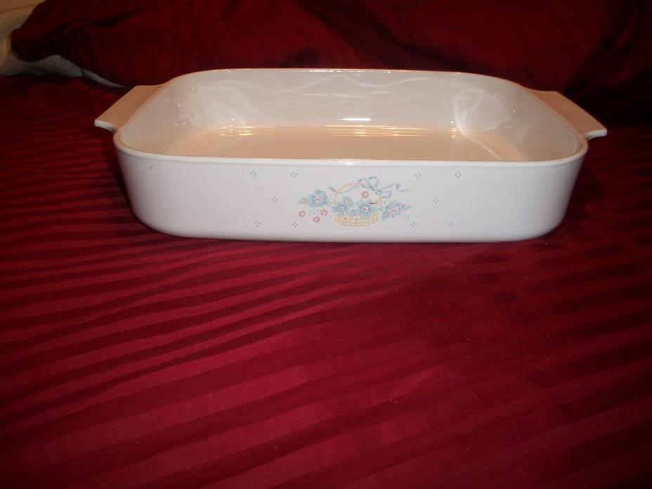 CORNINGWARE COUNTRY CORNFLOWER OPEN ROASTER CASSEROLE DISH LASAGNA PAN A-21-B-N