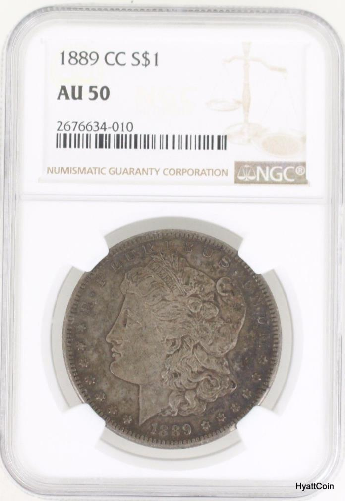 1889-CC Morgan Silver Dollar $1 Carson City NGC AU50
