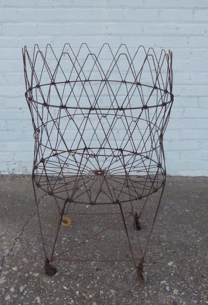 Vintage Allied Round Folding Collapsible Rolling Wire Laundry Basket Industrial