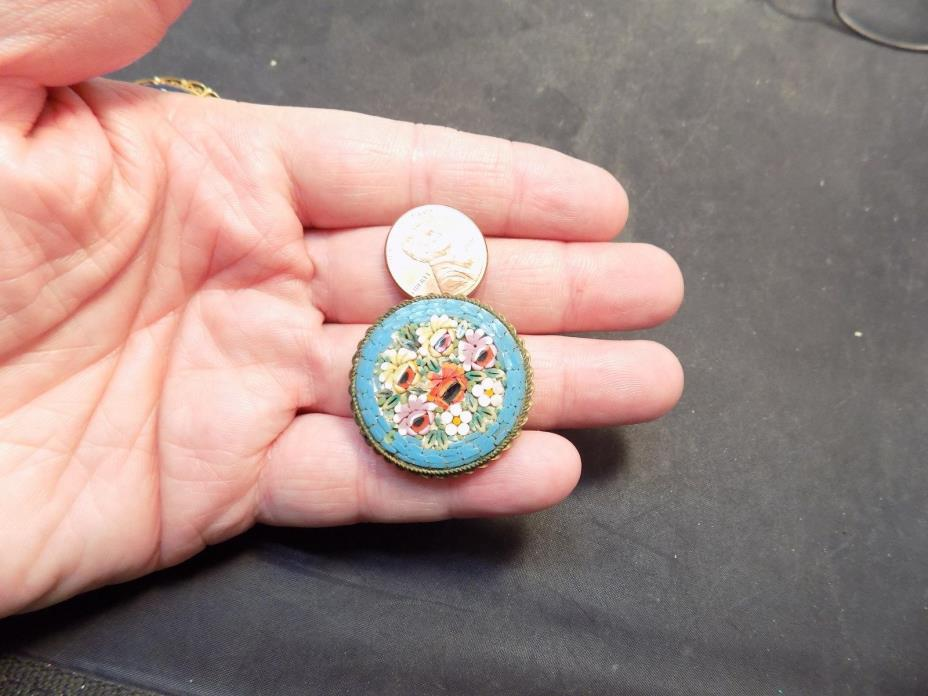 MICRO MOSAIC MILLEFIORI pin brooch  VINTAGE ITALY MOSAIC MILLEFIORI  pin