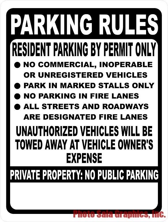 Custom Parking Rules Sign.  Metal Sign. Customized for Your Business