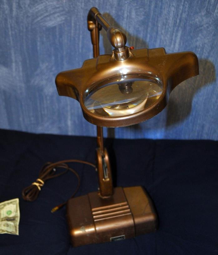 Mid-Century Dazor M-270 Floating Magnifying Desk Table Lamp Jeweler Drafting