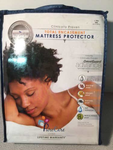 NEW PureCare Advance Total Encasement Mattress Protector Full- 8-14
