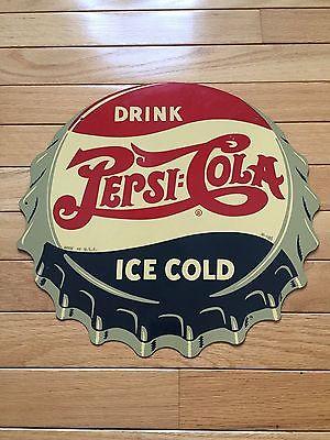 Pepsi Bottle Cap Soda Advertising Sign